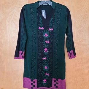Soulwin tunic dress embroidered black green pink